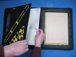 The Tactipad, the tools and the sheets stored in the case