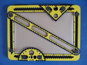 The drawing tools (ruler, set square and protractor) on the TactiPad