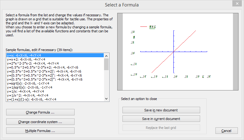 Functions and formulas dialog