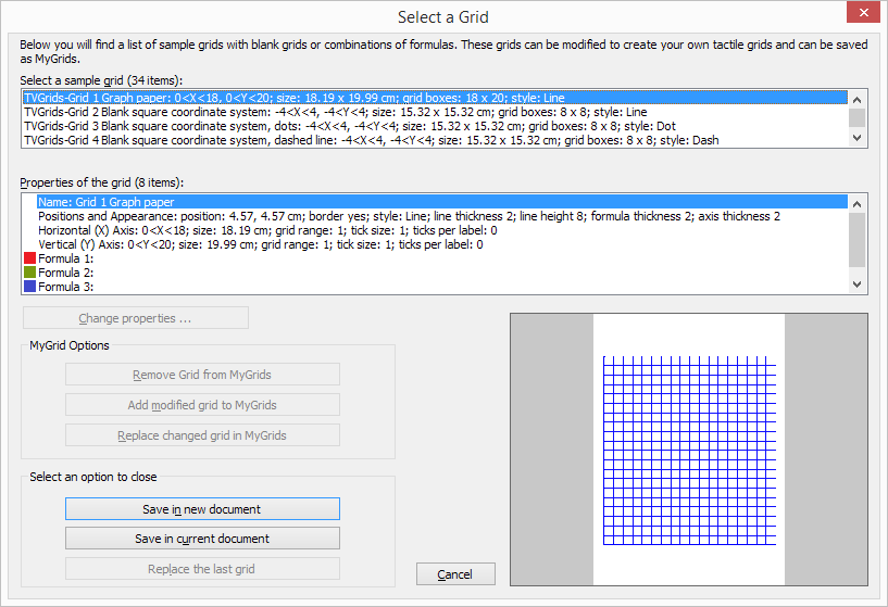 Grids and graphs dialog