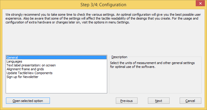 Configuration wizard step 3/4, available options: General; Languages; Text label presentation on screen; Alignment frame and grids; Update TactileView components; Sign up for newsletter.