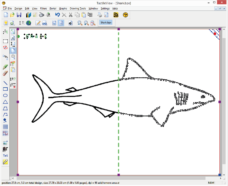 An image of a shark in line view (left half of the screen) and dot view