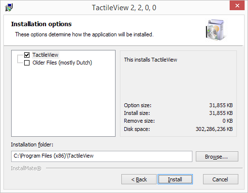 TactileView Installer step 2: Installation options