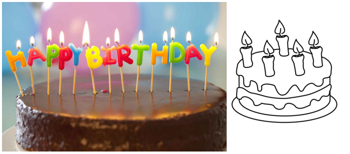 Photo of a real birthday cake on the left, line drawing of a birthday cake on the right