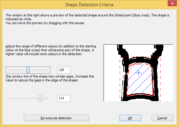 Detect shape dialog