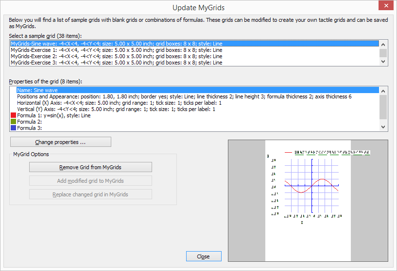 Update MyGrids dialog