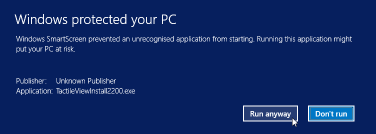 Windows Smartscreen warning: clicking 'More info' allows you to select 'Run anyway'