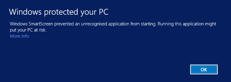 """Windows Smartscreen message: """"Windows SmartScreen prevented an unrecognised application from starting. Running this application might put your PC at risk."""""""