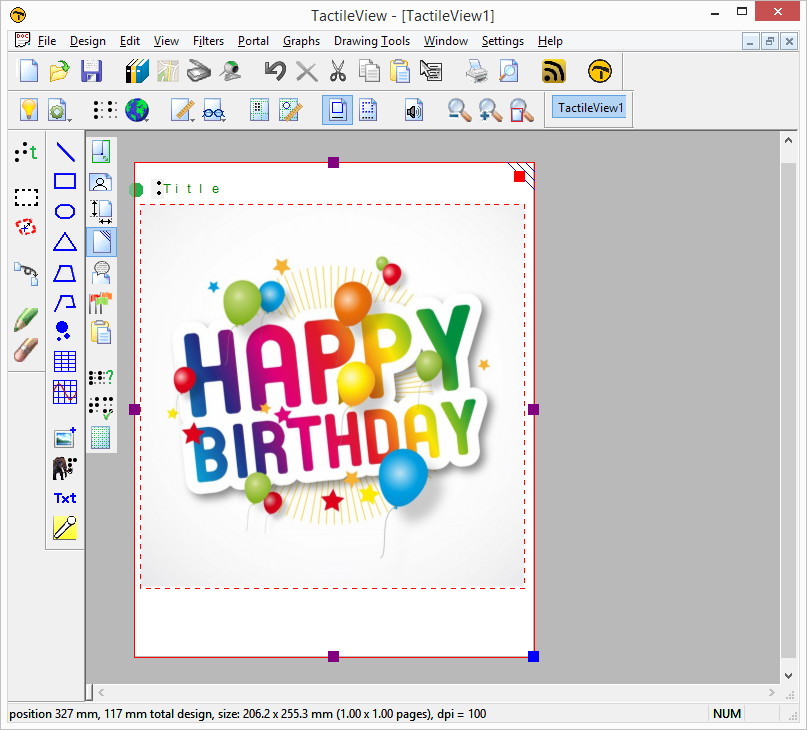 Pasting the image of the birthday card in the TactileView design.