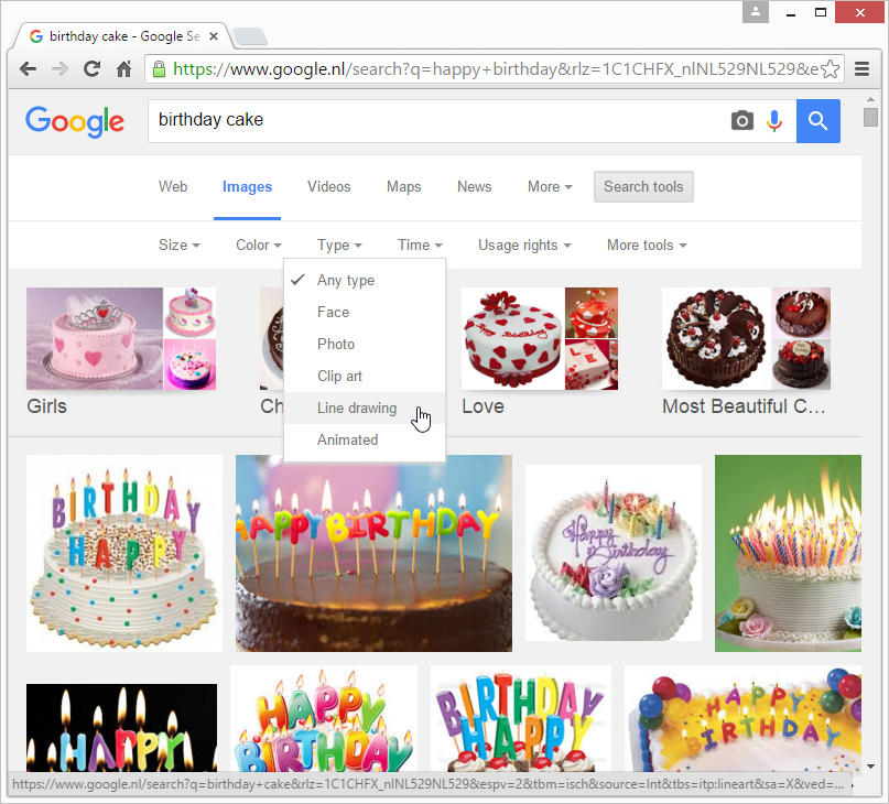 Using the Search Tools in Google to refine the image search, for example by selecting 'line drawing' as image type.