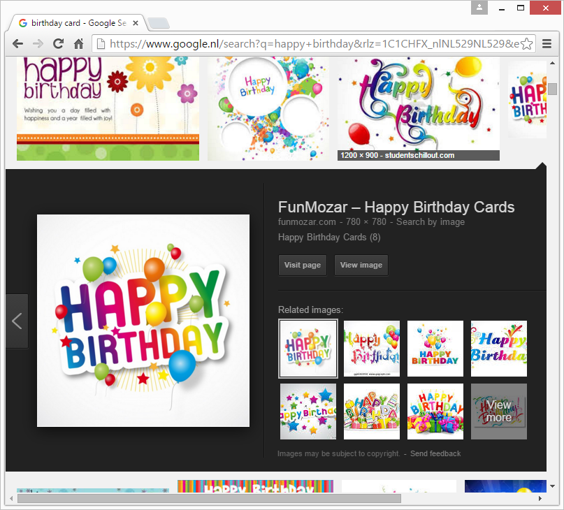 Using Google Image Search to find a suitable image. In this example, an image of a birthday card is selected.