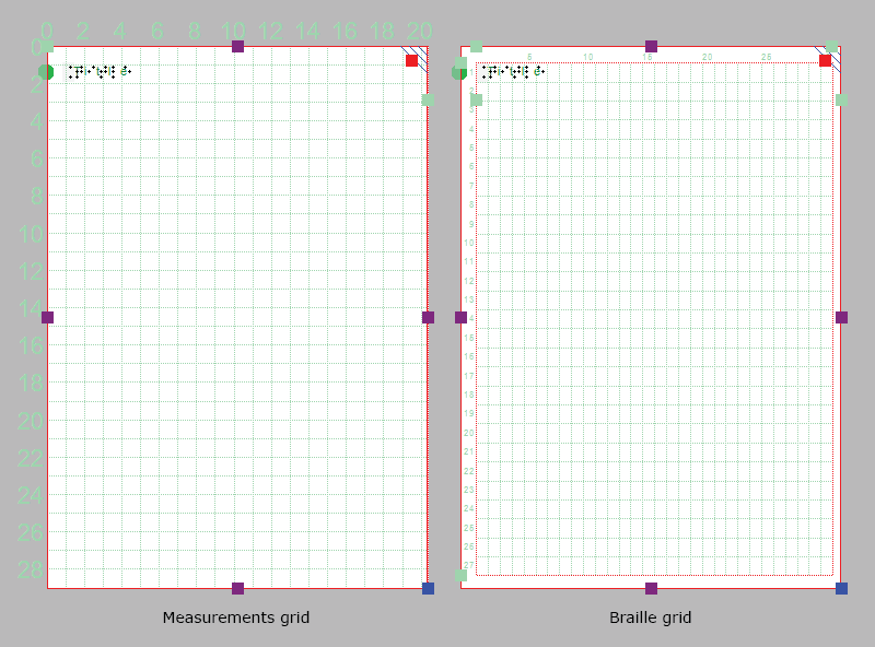 Alignment grids: measurements grid on the left, braille grid on the right