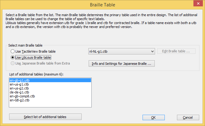 Braille tables settings dialog