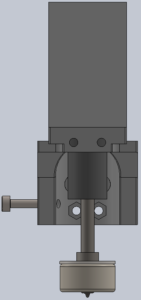 Front view of the drawing stylus assembly, with the drawing stylus extended.