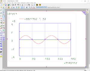 Screenshot of whole TactileView window with a white landscape view paper sheet in the center. On it, there is a grid with the X axis in degrees. A red line graph swings as a wave from (0/0) to above and below the X axis twice until it reaches the 360 degree mark at the right edge of the grid.