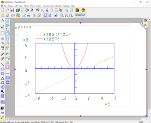 Screenshot of whole TactileView window with a white landscape view paper sheet in the center. On it, there is a grid with linear axes. The positive Y section (above the middle) contains a red parabola from the formular y=x^2. A second graph in the form of a straight, green, dashed line from the formula y=0.5*x-1 goes from the lower left corner of the grid towards the right upper side.