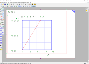 Screenshot of whole TactileView window with a white landscape view paper sheet in the center. On it, there is a grid with a linear X axis, showing 28 days. The Y axis is logarithmic, going from 1000 to 100000. A a red straight line represents a graph which goes from (0/0) steeply rightwards towards the top of the gridparabola from the formular y=x^2. A second graph in the form of a straight, green, dashed line from the formula y=0.5*x-1 goes from the lower left corner of the grid.